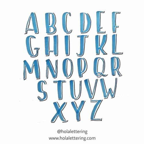 letras con sombra abecedario mayúsculas